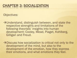 Chapter 3: Socialization
