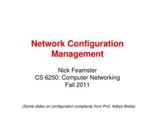 Network Configuration Management