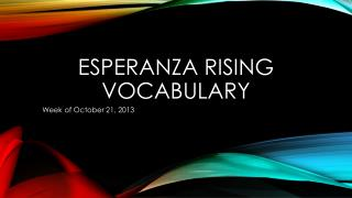 Esperanza rising Vocabulary