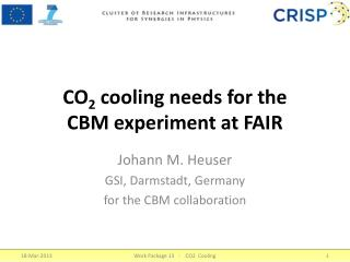 CO 2 cooling  needs  for the   CBM experiment at FAIR