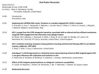 Oral Poster Discussion Session Room 3 Wednesday 20 July, 13:00-14:00