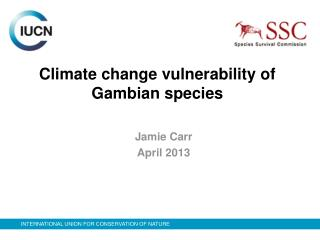 Climate change vulnerability of Gambian species