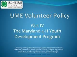 Part  IV  The Maryland 4-H Youth Development Program