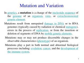 Mutation and Variation