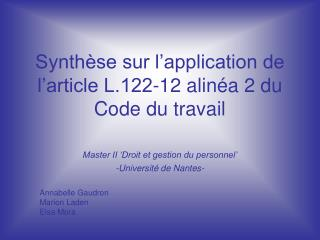 Synth se sur l application de l article L.122-12 alin a 2 du Code du travail