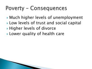 Poverty – Consequences