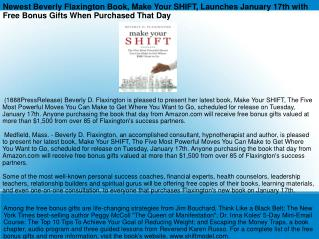 Newest Beverly Flaxington Book, Make Your SHIFT, Launches Ja