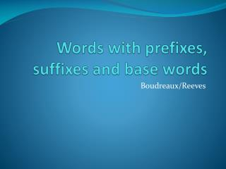 Words with prefixes, suffixes and base words