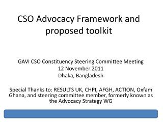 CSO Advocacy Framework and proposed toolkit