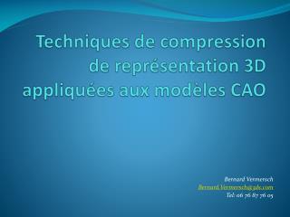 Techniques  de compression de représentation  3D appliquées  aux modèles CAO
