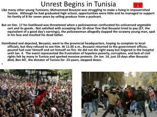 Unrest Begins in Tunisia