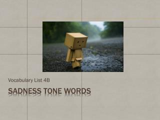 Sadness tone  words