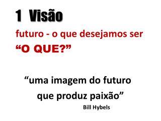 """1   Visão  futuro - o que desejamos ser """"O QUE?"""" """"uma imagem do futuro  que produz paixão"""""""