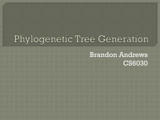 Phylogenetic Tree Generation