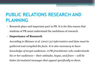 PUBLIC RELATIONS RESEARCH AND PLANNING