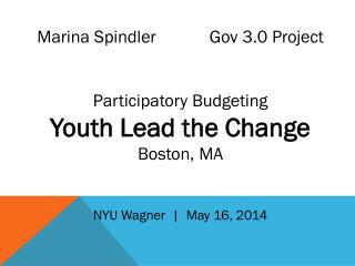 Marina Spindler             Gov  3.0 Project  Participatory Budgeting  Youth Lead the Change