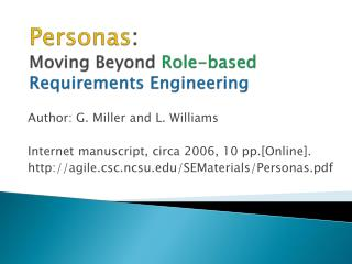 Personas :  Moving Beyond  Role-based  Requirements Engineering