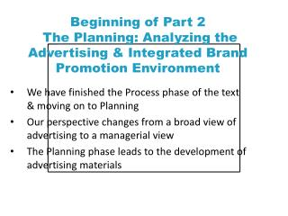 We have finished the Process phase of the text & moving on to Planning
