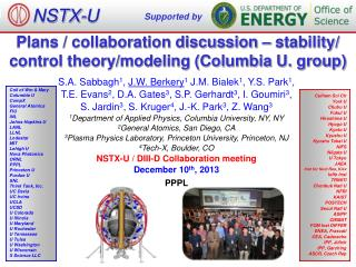 Plans / collaboration discussion – stability/ control theory/modeling (Columbia U. group)