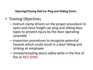 Opening/Closing  Rail Car  Plug and Sliding Doors