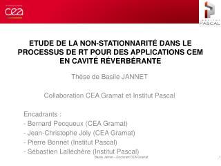 Thèse de Basile JANNET Collaboration CEA Gramat et Institut  Pascal Encadrants  :