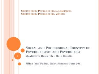 Social and Professional  Identity  of Psychologists and Psychology