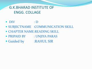 G.K.BHARAD INSTITUTE OF           ENGG. COLLAGE