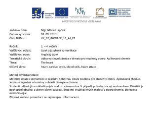 Jméno autora: Mgr. Mária Filipová Datum vytvoření: 1 8 .  09. 2013