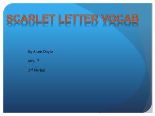 Scarlet Letter Vocab