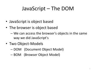 JavaScript – The DOM