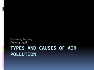 Types and Causes of Air Pollution