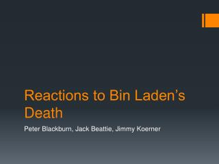 Reactions to Bin Laden's Death