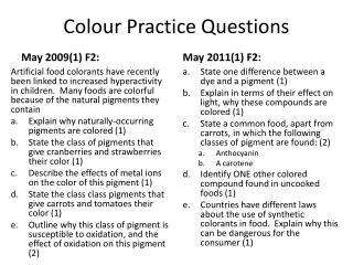 Colour  Practice  Questions