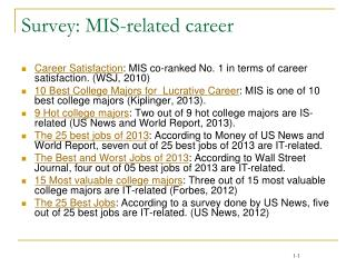 Survey: MIS-related career