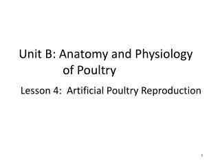 Unit B: Anatomy and Physiology of Poultry