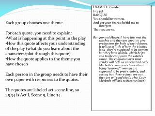 Each group chooses one theme.  For each quote, you need to explain: