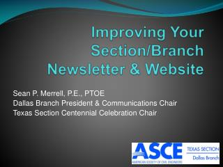 Improving Your Section/Branch  Newsletter & Website
