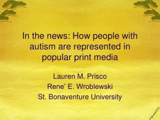 In the news: How people with autism are represented in popular print media