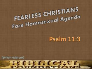 FEARLESS CHRISTIANS Face Homosexual Agenda