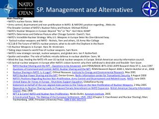 SP. Management and Alternatives