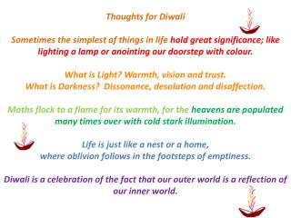 Thoughts for  Diwali