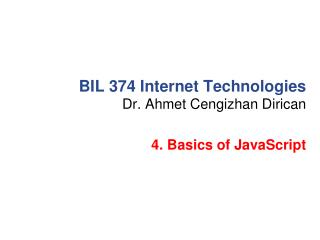 BIL 374 Internet Technologies