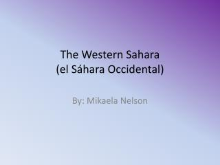 The Western Sahara ( el Sáhara Occidental)