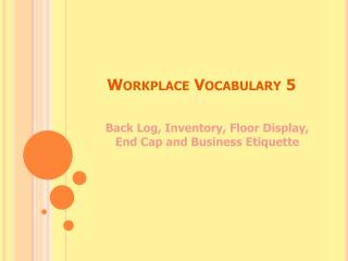 Workplace Vocabulary 5