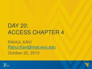 Day 20: Access Chapter 4