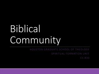 Biblical  Community