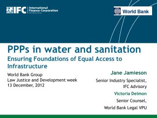 PPPs in water and sanitation Ensuring Foundations of Equal Access to Infrastructure