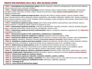 ÍNDICE POR MATERIAS 2012-2013.  DRA  IGLESIAS LEPINE