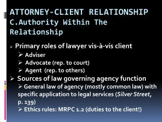 ATTORNEY-CLIENT RELATIONSHIP c. Authority  Within The Relationship