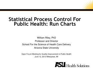 Statistical Process Control For Public  Health: Run  Charts